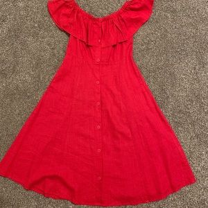 Forever21 Red off the shoulder midi dress
